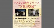 """'21.09.28 [tue] F.A.D25周年シリーズ """"210928″  the band apart / CONFVSE"""